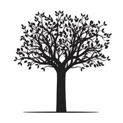 Black shape of Tree. Vector Illustration.