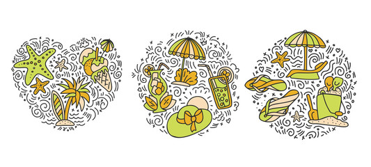 Collection of Summer and beach hand draw icon concept. Travel summer icons collection in round and heart form with cartoon decorative elements. Coconut, surfing boat, sand, ice cream elements. Happy