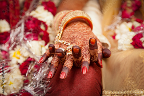 84cfa8fc94076 Beautiful female hand of an Indian bride, holding groom's hand during a  typical Hindu wedding ceremony.