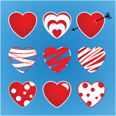 Set of vector valentines made of nine hearts. The main colors are red and white.