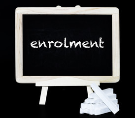 Enrolment blackboard with text