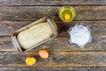 Baking ingredients - flour, butter, eggs, sugar. Baked flour-based food: bread, cookies, cakes, pastries, and pies.