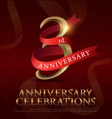 3rd year anniversary celebration golden logo with red ribbon on red background. vector illustrator