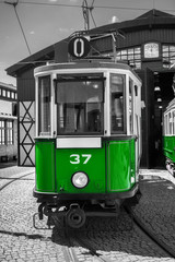 old and vintage green tram