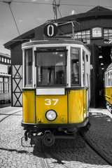 yellow retro tram