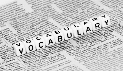 Vocabulary alphabet cubes on newspaper