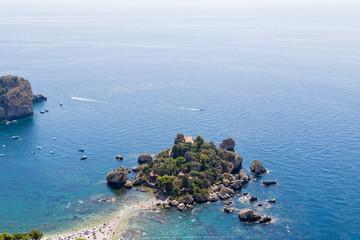 Taormina, Sicily. Scenic Isola Bella Island