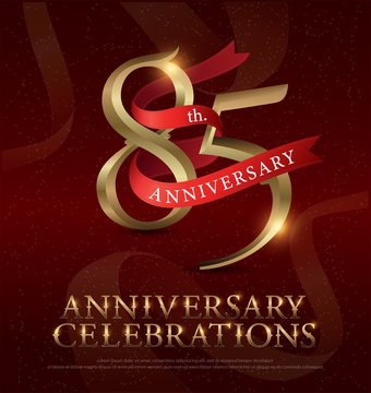 85th years anniversary celebration golden logo with red ribbon on red background. vector illustrator