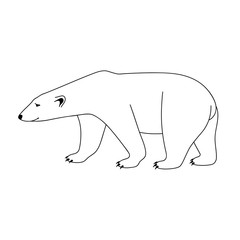 Isolated black outline polar bear on white background. Curve lines. Page of coloring book.