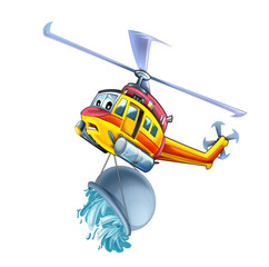 Cartoon funny looking helicopter - illustration for children