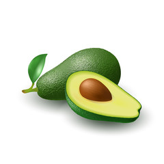 Isolated realistic colored whole juicy avocado with stick and green leaf and half avocado with pit with shadow on white background. Side view.