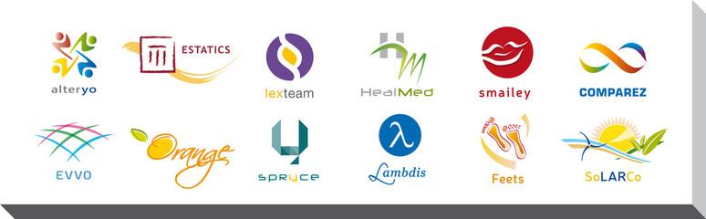 Ensemble de Douze Logos et Icones - Conception Charte Graphique