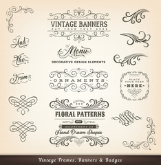 Vintage Calligraphic Design Banners