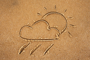 Cloud with rain and sun drawn on sandy beach. Sign for forecast of weather