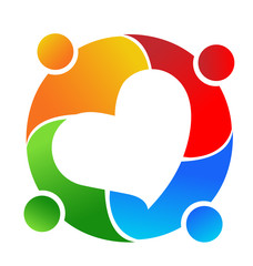 Teamwork people meeting, forming heart icon