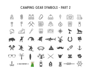 Set of silhouette icons and shapes with different outdoor gear, camping symbols for creating adventure logotypes, badge designs, use in infographics, posters. Isolated on white. Part 2