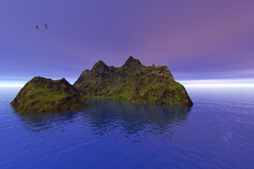 Island, a beautiful  landscape, wonderful sea water and birds in the sky.