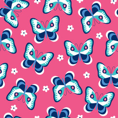 seamless colorful butterfly pattern vector illustration