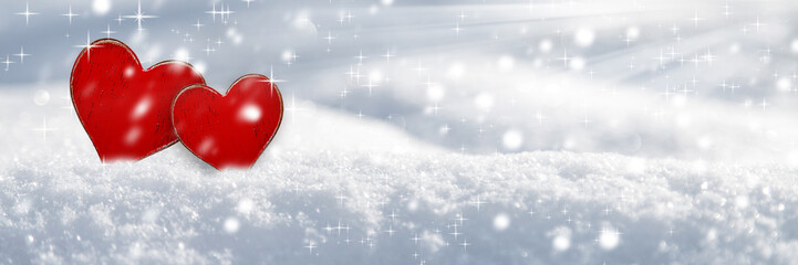 Two Red Hearts In The Snow