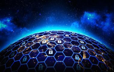Global network security and data protection concept, a grid of cells with a lock symbol in some of them  around the Earth globe on deep blue space background