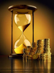 Time is money, make money and time management business concept, vintage hourglass with stack of gold coins on yellow background