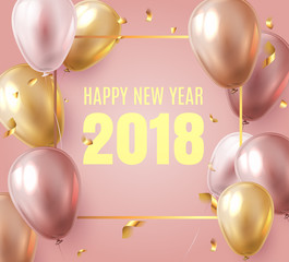 2018 New Year Black background with gold shine confetti  and helium shine party balloons. Festive NYE premium VIP luxury design template for holiday greeting card, invitation, calendar poster, banner