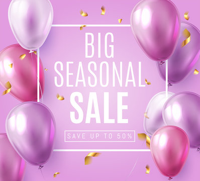Big Seasonal Final sale text, special offer celebrate background with purple and violet air balloons. Realistic vector stock design for  shop and sale banners, grand opening, party flyer