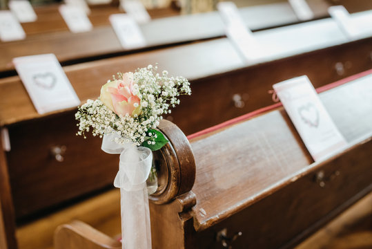 wedding flower and decoration in a christian church
