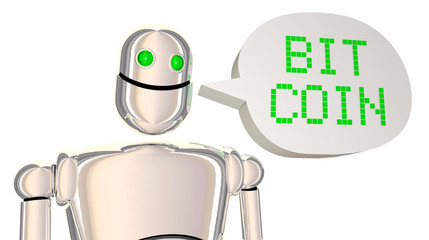 Bitcoin Robot Speech Bubble Cryptocurrency Digital Payment 3d Illustration