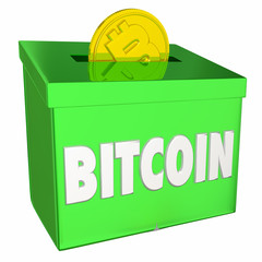Bitcoin Collection Box Cryptocurrency Payment 3d Illustration