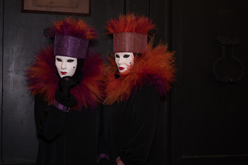 Venice, Italy - February 24, 2017: Famouse Venice Carnival. Masked people.