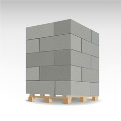 Aerated autoclaved concrete block. Isolated Foam concrete on pallets. vector illustration.