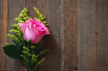 Floral Bouquet on Cedar Table