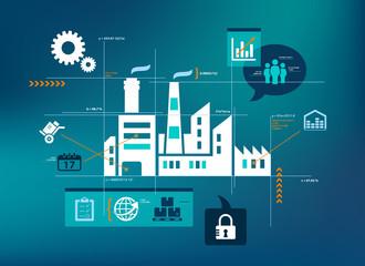 Smart company vector illustration - data analysis / optimisation concept