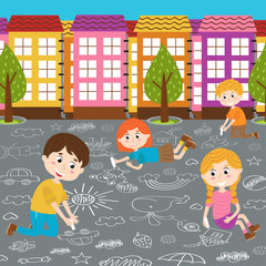 children draw on asphalt  - vector illustration, eps