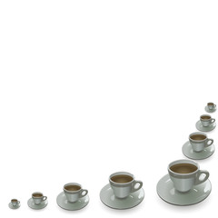 cups placed corner on a white background