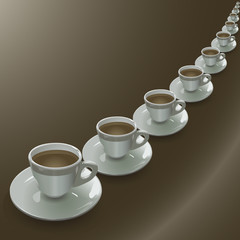 Cups arranged in a row on a brown gradient