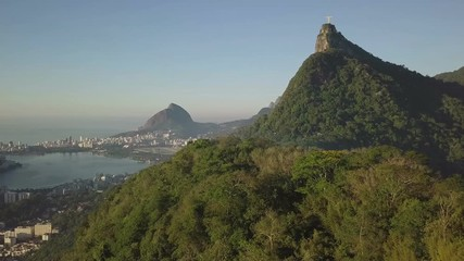 Wall Mural - Aerial view of Corcovado mountain with Christ the Redeemer statue in Rio de Janeiro, Brazil