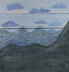 Mountain range hand painted wood panel background
