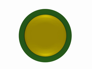 runder Button in gelb-grün auf weiß isoliert.