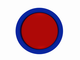 runder Button in rot-blau auf weiß isoliert.