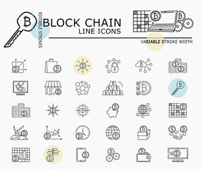 Block chain line icons with minimal nodes and editable stroke width and style