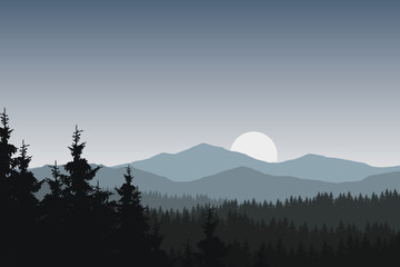 Vector illustration of mountain landscape with forest under gray sky with clouds