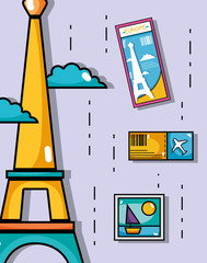 eiffel tower with picture and ticket travel