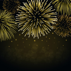 Firework gold sparkle background card. Beautiful bright fireworks isolated on black background. Light golden decoration firework for Christmas card, New Year celebration. Vector illustration
