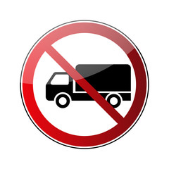 No truck sign. Forbidden red road sign isolated on white background. Glossy black no truck icon. Truck restriction symbol. No parking truck transport . No allowed lorry. Vector illustration