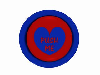 """runder Button in rot-blau mit Herzchen und dem Text """"push me"""""""