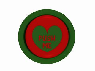 """runder Button in rot-grün mit Herzchen und dem Text """"push me"""""""