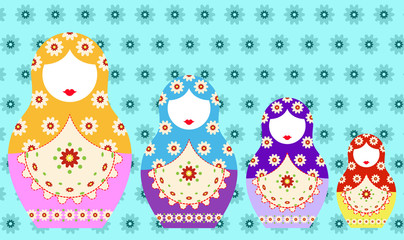 Matryoshka set icon Russian nesting doll with ornament, vector illustration, decorated background