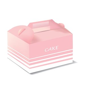 Pink cake carrier packaging with pattern isolated